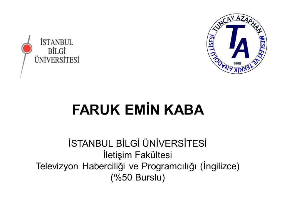 SENA ÇAYIRLI İSTANBUL BİLGİ ÜNİVERSİTESİ İletişim Fakültesi Televizyon Haberciliği ve Programcılığı (İngilizce) (%50 Burslu)