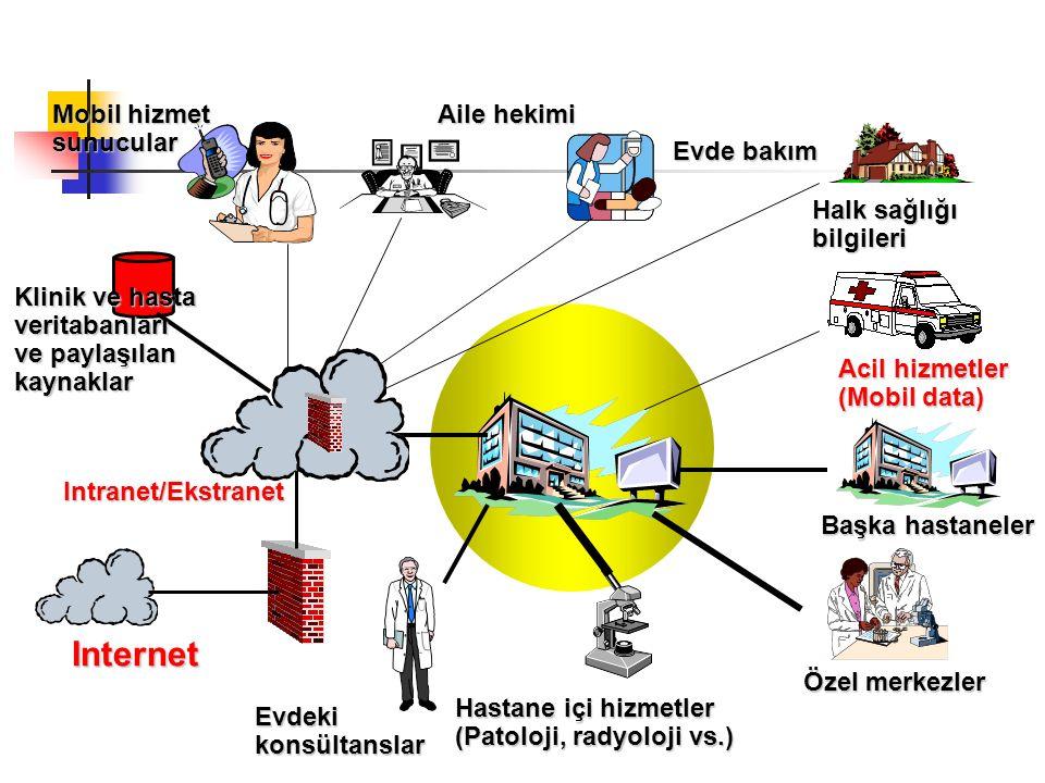 Mobil hizmet sunucular Klinik ve hasta veritabanları ve paylaşılan kaynaklar Internet Intranet/Ekstranet Hastane içi hizmetler (Patoloji, radyoloji vs.) Evdeki konsültanslar Özel merkezler Başka hastaneler Acil hizmetler (Mobil data) Halk sağlığı bilgileri Aile hekimi Evde bakım