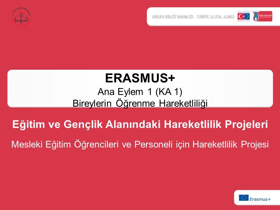 ERASMUS+ Ana Eylem 1 (KA 1) Bireylerin Öğrenme Hareketliliği Eğitim ve Gençlik Alanındaki Hareketlilik Projeleri Mesleki Eğitim Öğrencileri ve Persone