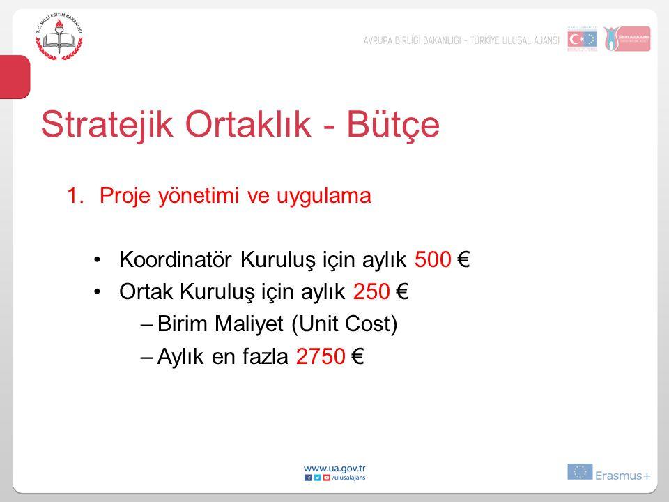 1.Proje yönetimi ve uygulama Koordinatör Kuruluş için aylık 500 € Ortak Kuruluş için aylık 250 € –Birim Maliyet (Unit Cost) –Aylık en fazla 2750 € Str