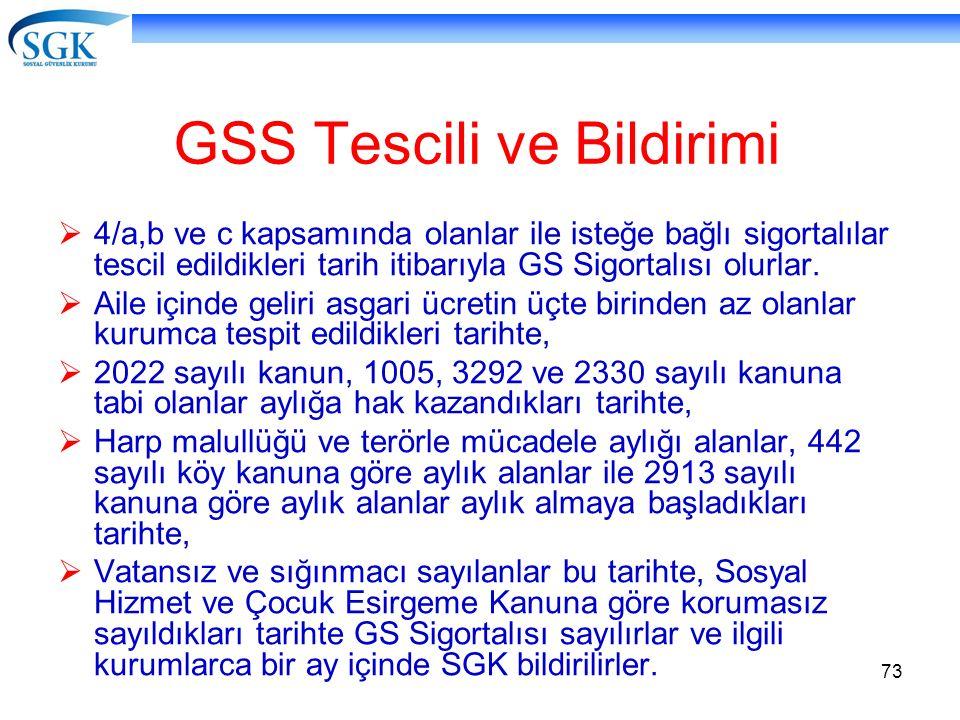 73 GSS Tescili ve Bildirimi  4/a,b ve c kapsamında olanlar ile isteğe bağlı sigortalılar tescil edildikleri tarih itibarıyla GS Sigortalısı olurlar.