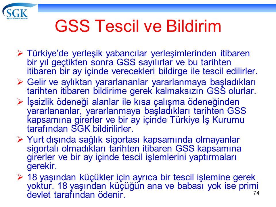 74 GSS Tescil ve Bildirim  Türkiye'de yerleşik yabancılar yerleşimlerinden itibaren bir yıl geçtikten sonra GSS sayılırlar ve bu tarihten itibaren bi
