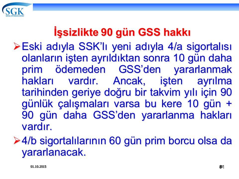 81 01.10.201581 İşsizlikte 90 gün GSS hakkı  Eski adıyla SSK'lı yeni adıyla 4/a sigortalısı olanların işten ayrıldıktan sonra 10 gün daha prim ödemed