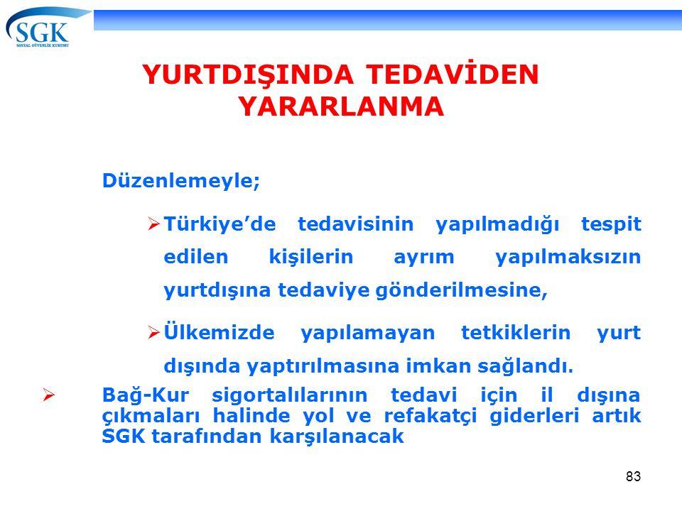 83 YURTDIŞINDA TEDAVİDEN YARARLANMA Düzenlemeyle;  Türkiye'de tedavisinin yapılmadığı tespit edilen kişilerin ayrım yapılmaksızın yurtdışına tedaviye