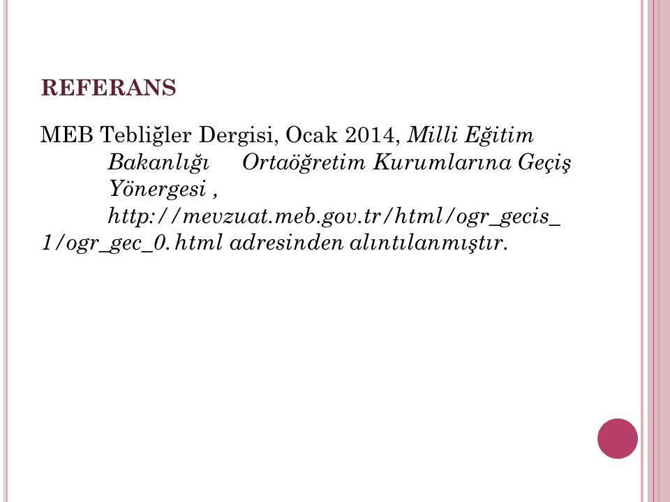REFERANS MEB Tebliğler Dergisi, Ocak 2014, Milli Eğitim Bakanlığı Ortaöğretim Kurumlarına Geçiş Yönergesi, http://mevzuat.meb.gov.tr/html/ogr_gecis_ 1/ogr_gec_0.html adresinden alıntılanmıştır.
