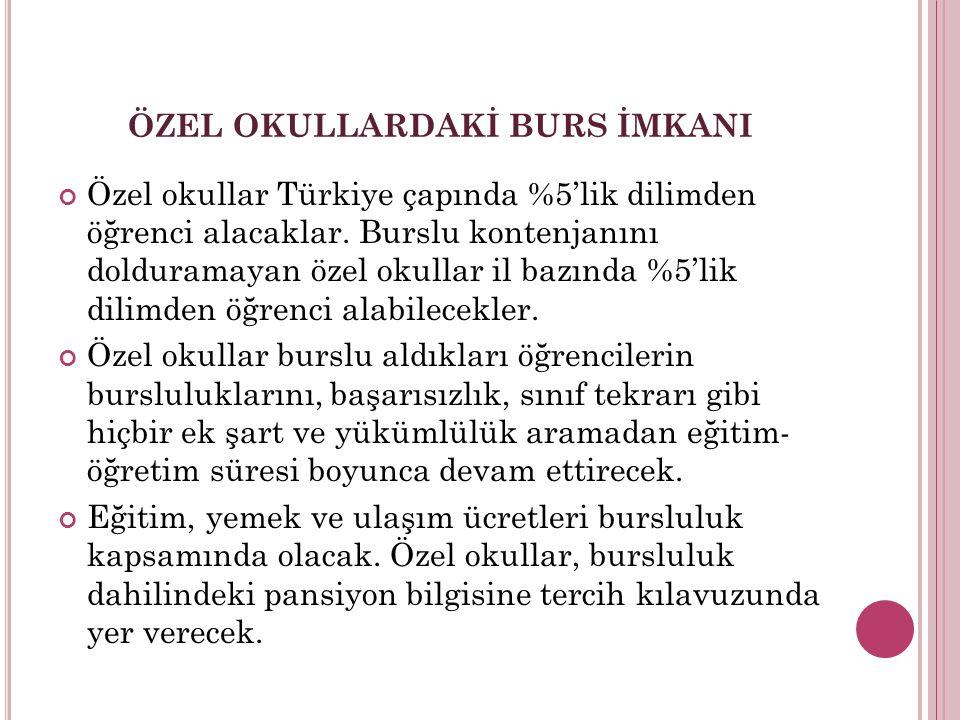 ÖZEL OKULLARDAKİ BURS İMKANI Özel okullar Türkiye çapında %5'lik dilimden öğrenci alacaklar. Burslu kontenjanını dolduramayan özel okullar il bazında