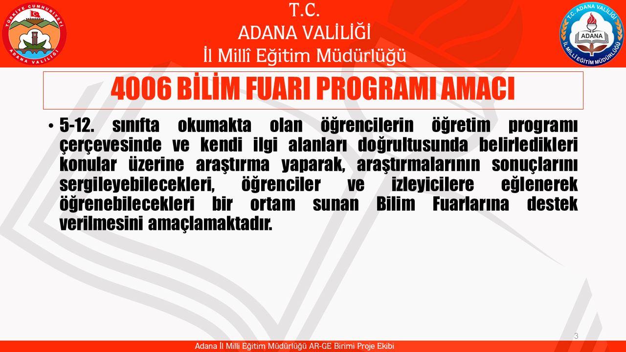 4006 BİLİM FUARI PROGRAMI AMACI 3 5-12. sınıfta okumakta olan öğrencilerin öğretim programı çerçevesinde ve kendi ilgi alanları doğrultusunda belirled