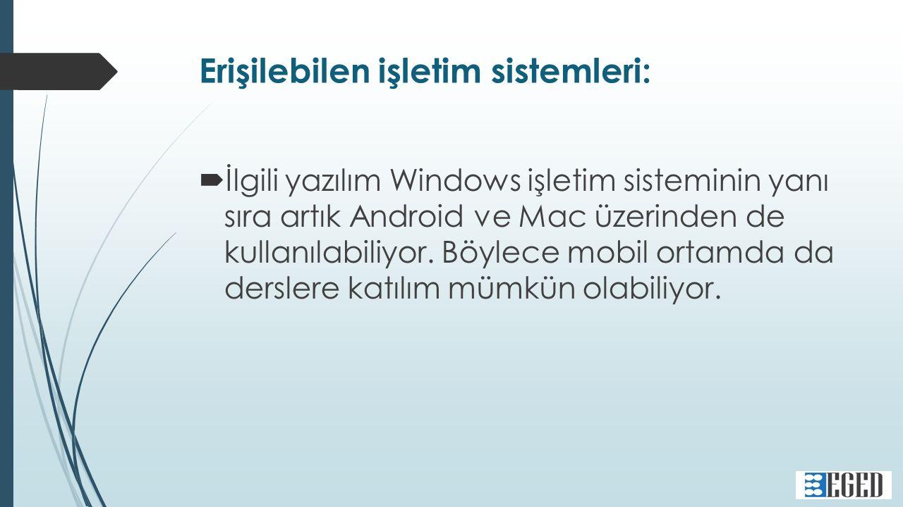 Erişilebilen işletim sistemleri:  İlgili yazılım Windows işletim sisteminin yanı sıra artık Android ve Mac üzerinden de kullanılabiliyor.