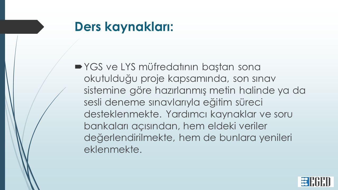 Ders kaynakları:  YGS ve LYS müfredatının baştan sona okutulduğu proje kapsamında, son sınav sistemine göre hazırlanmış metin halinde ya da sesli deneme sınavlarıyla eğitim süreci desteklenmekte.