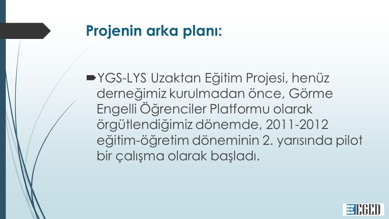 Projenin arka planı:  YGS-LYS Uzaktan Eğitim Projesi, henüz derneğimiz kurulmadan önce, Görme Engelli Öğrenciler Platformu olarak örgütlendiğimiz dönemde, 2011-2012 eğitim-öğretim döneminin 2.