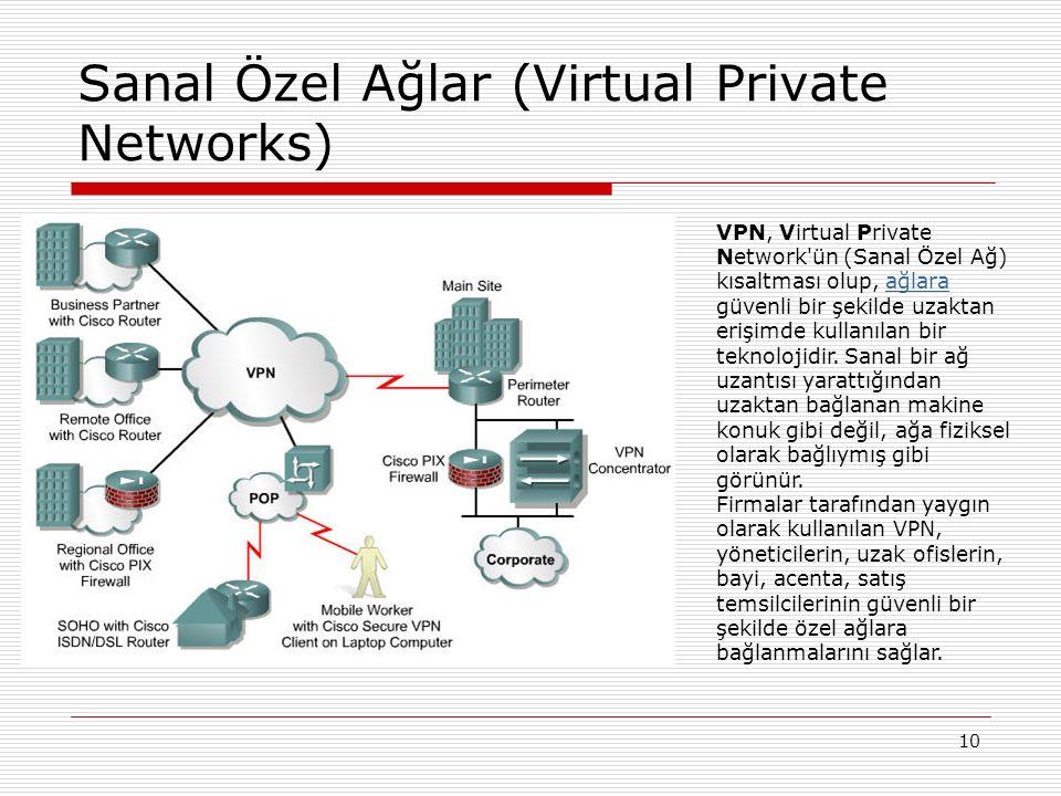 10 Sanal Özel Ağlar (Virtual Private Networks) VPN, Virtual Private Network'ün (Sanal Özel Ağ) kısaltması olup, ağlara güvenli bir şekilde uzaktan eri