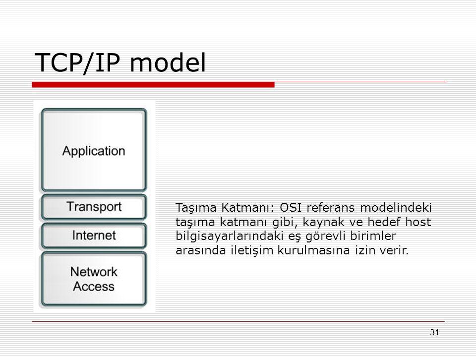 31 TCP/IP model Taşıma Katmanı: OSI referans modelindeki taşıma katmanı gibi, kaynak ve hedef host bilgisayarlarındaki eş görevli birimler arasında il