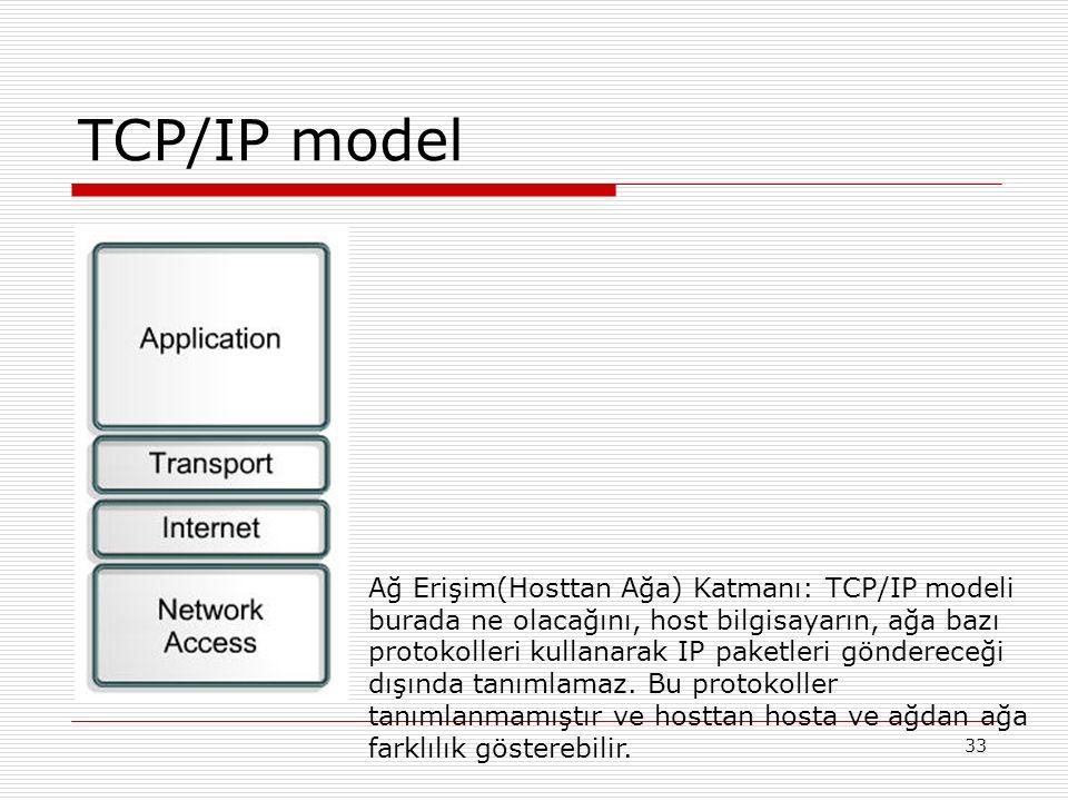 33 TCP/IP model Ağ Erişim(Hosttan Ağa) Katmanı: TCP/IP modeli burada ne olacağını, host bilgisayarın, ağa bazı protokolleri kullanarak IP paketleri gö