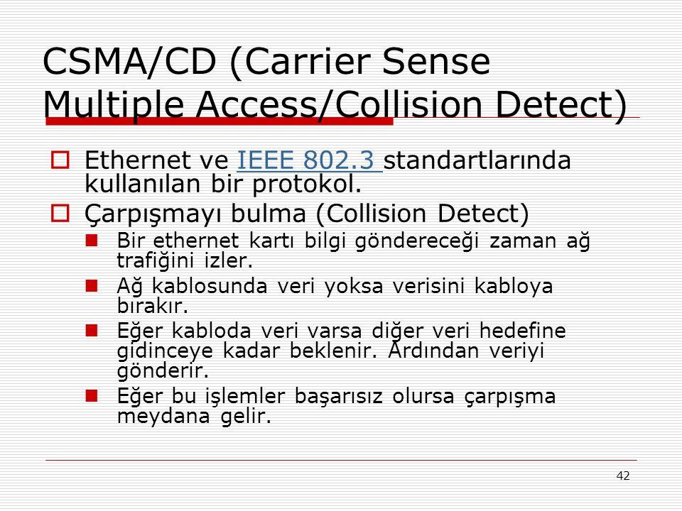 42 CSMA/CD (Carrier Sense Multiple Access/Collision Detect)  Ethernet ve IEEE 802.3 standartlarında kullanılan bir protokol.IEEE 802.3  Çarpışmayı b