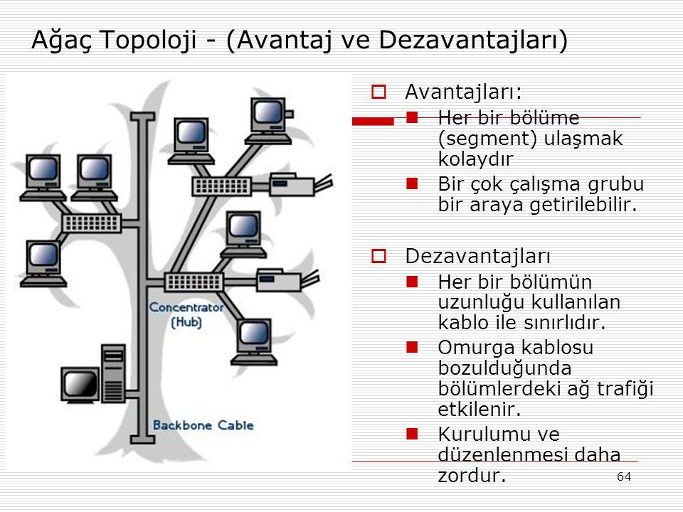 64 Ağaç Topoloji - (Avantaj ve Dezavantajları)  Avantajları: Her bir bölüme (segment) ulaşmak kolaydır Bir çok çalışma grubu bir araya getirilebilir.