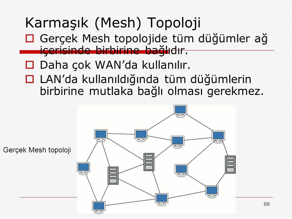 66 Karmaşık (Mesh) Topoloji  Gerçek Mesh topolojide tüm düğümler ağ içerisinde birbirine bağlıdır.  Daha çok WAN'da kullanılır.  LAN'da kullanıldığ