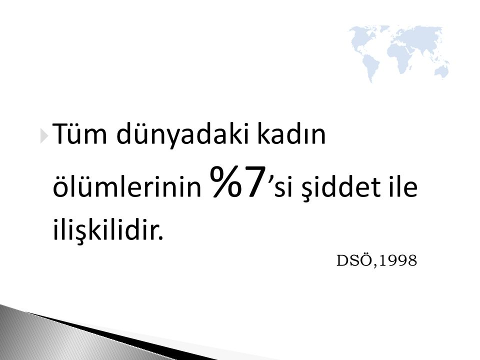  Tüm dünyadaki kadın ölümlerinin %7 'si şiddet ile ilişkilidir. DSÖ,1998