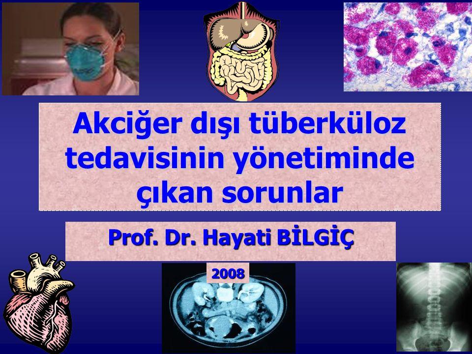 AKCİĞER DIŞI TÜBERKÜLOZ (AD-TB) AD-TB başlığı altında şu hastalıklar yer alır: * Plevra TB (plörezi TB) * Toraks içi lenfadenit TB * Toraks dışı lenfadenit TB * Omurga (vertebra) kemik-eklem TB * Omurga (vertebra) dışı kemik-eklem TB * Menenjit TB * Santral sinir sistemi TB (menenjit dışı) * Genitoüriner TB * Milier TB * Periton/gastrointestinal sistem TB * Diğer birçok organın tüberkülozu olabilir
