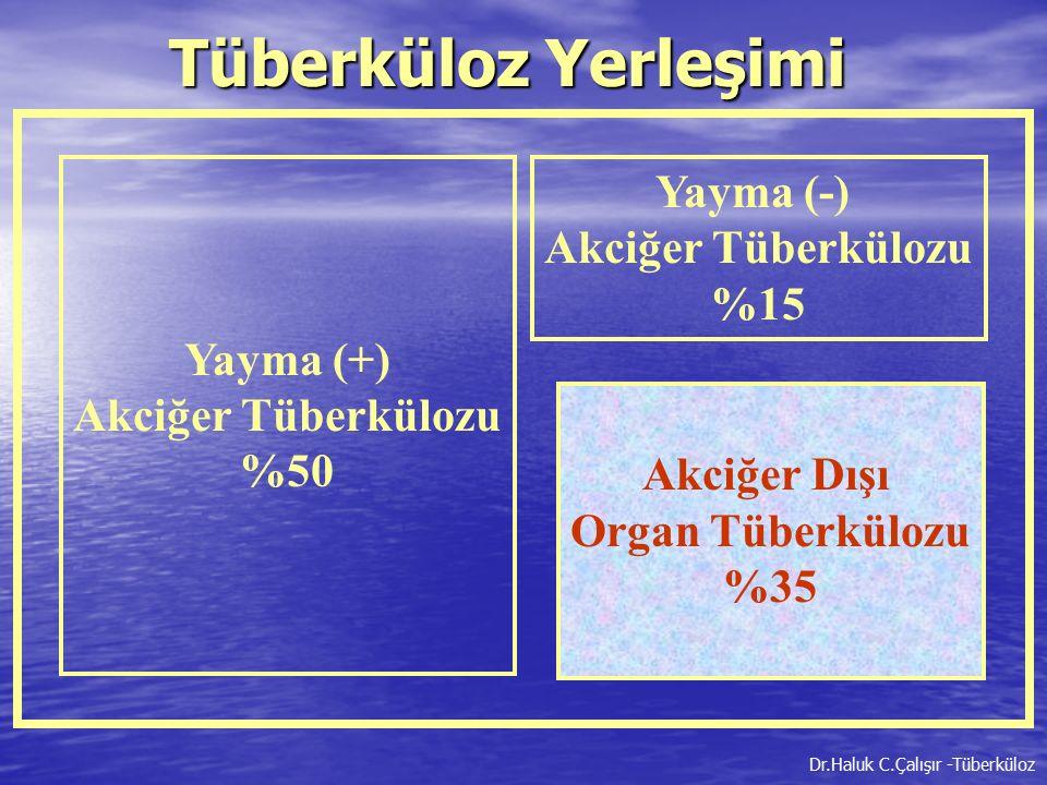 Yayma (+) Akciğer Tüberkülozu %50 Yayma (-) Akciğer Tüberkülozu %15 Akciğer Dışı Organ Tüberkülozu %35 Tüberküloz Yerleşimi Dr.Haluk C.Çalışır -Tüberk
