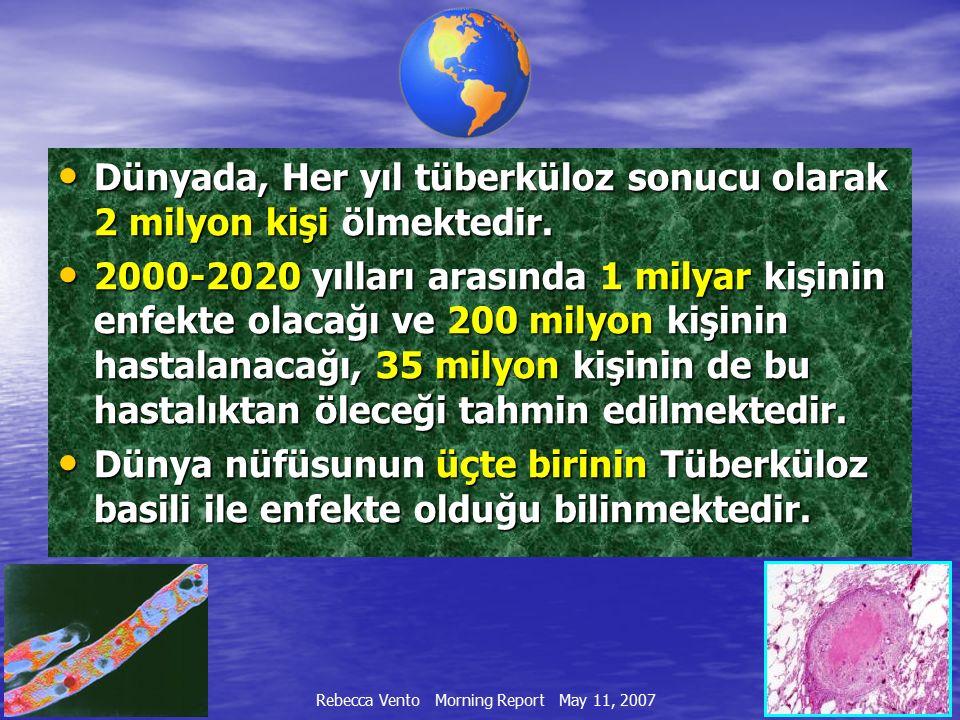 Dünyada, Her yıl tüberküloz sonucu olarak 2 milyon kişi ölmektedir. Dünyada, Her yıl tüberküloz sonucu olarak 2 milyon kişi ölmektedir. 2000-2020 yıll