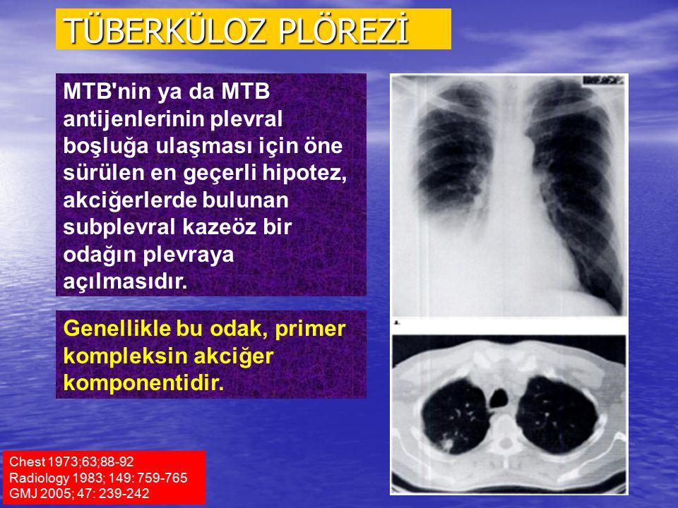 Chest 1973;63;88-92 Radiology 1983; 149: 759-765 GMJ 2005; 47: 239-242 MTB'nin ya da MTB antijenlerinin plevral boşluğa ulaşması için öne sürülen en g