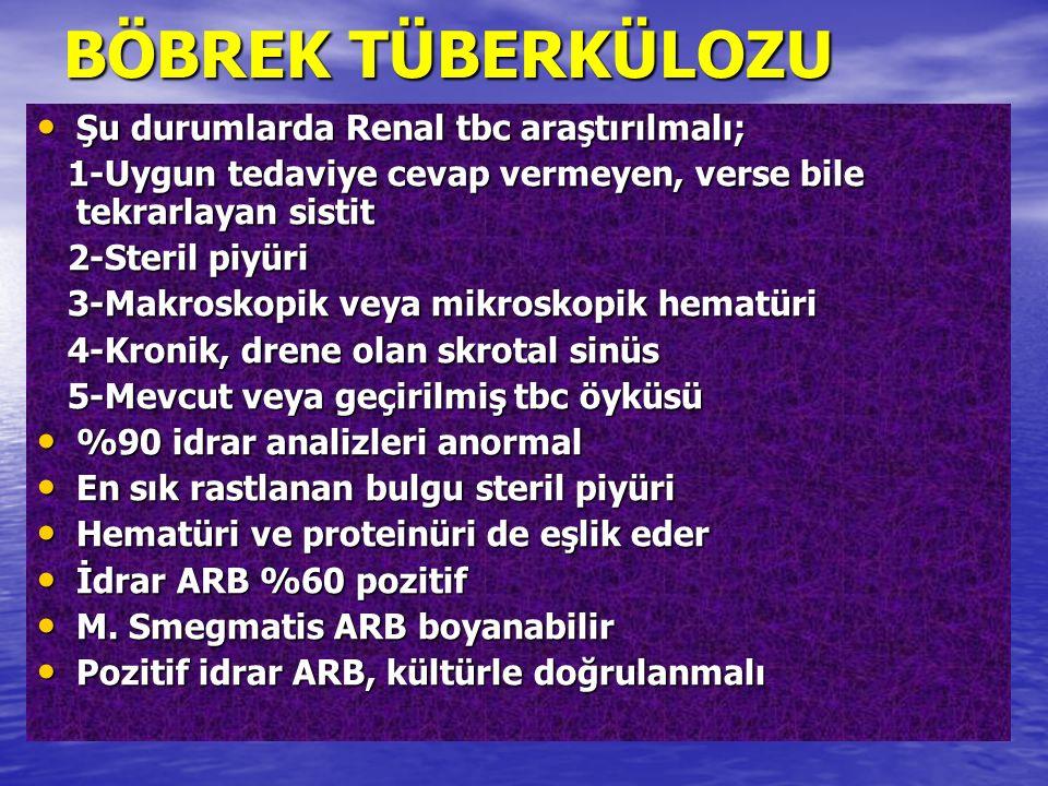 Şu durumlarda Renal tbc araştırılmalı; Şu durumlarda Renal tbc araştırılmalı; 1-Uygun tedaviye cevap vermeyen, verse bile tekrarlayan sistit 1-Uygun t
