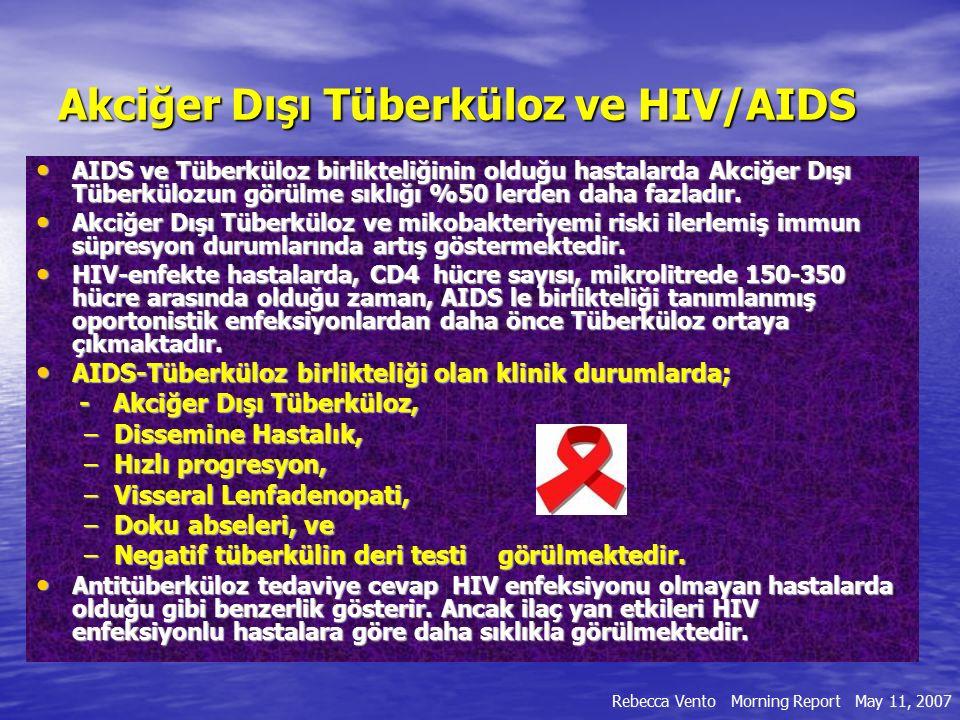 HIV + and HIV – bireylerde TB farklılıkları Özellikler Yaş durumu AteşKazeifikasyon ARB durumu Tüberkülin testi Kalsifikasyon Hiler adenopati Kavitasyon Ekstrapulmoner durum HIV + 20 – 50 yaş SıktırMinimal Görülür, sıklıkla ekstrasellüler %60 Negatiftir YokturBilateralSeyrek % 50 sıklıkta HIV – 50 yaş üzeri SıktırVardır Görülür, genellikle intrasellüler Sıklıkla Positiftir VardırUnilateralSıklıklaSeyrektir