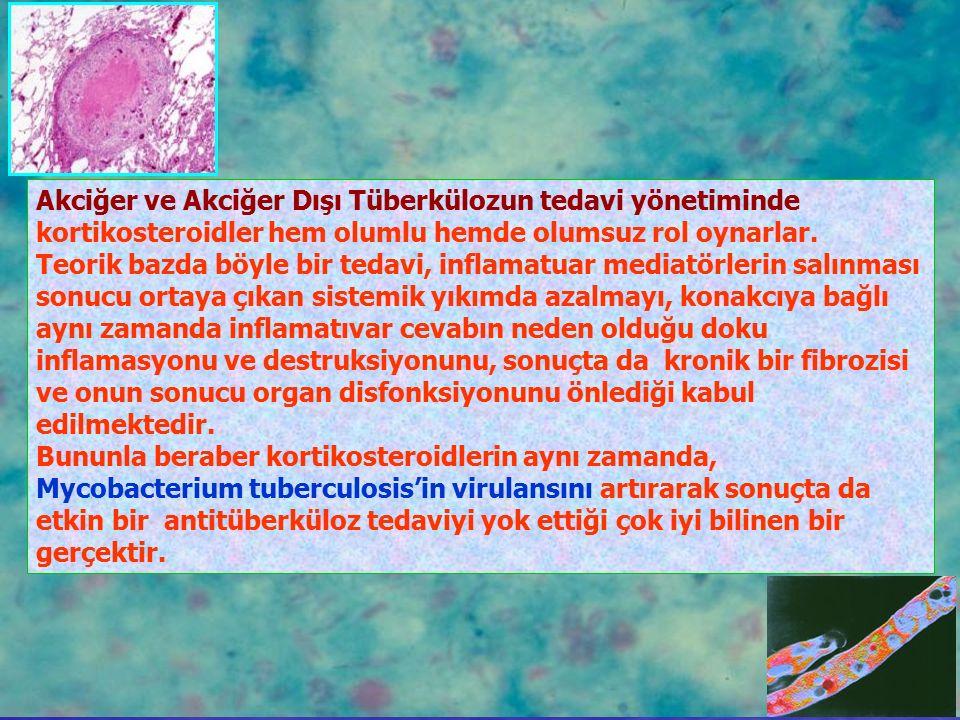 Akciğer ve Akciğer Dışı Tüberkülozun tedavi yönetiminde kortikosteroidler hem olumlu hemde olumsuz rol oynarlar. Teorik bazda böyle bir tedavi, inflam