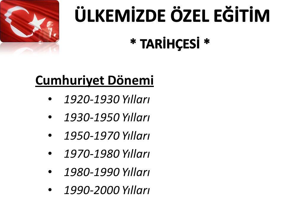 Cumhuriyet Dönemi 1920-1930 Yılları 1930-1950 Yılları 1950-1970 Yılları 1970-1980 Yılları 1980-1990 Yılları 1990-2000 Yılları