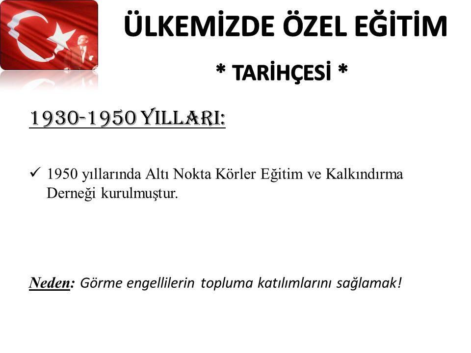 1930-1950 YIllarI: 1950 yıllarında Altı Nokta Körler Eğitim ve Kalkındırma Derneği kurulmuştur.