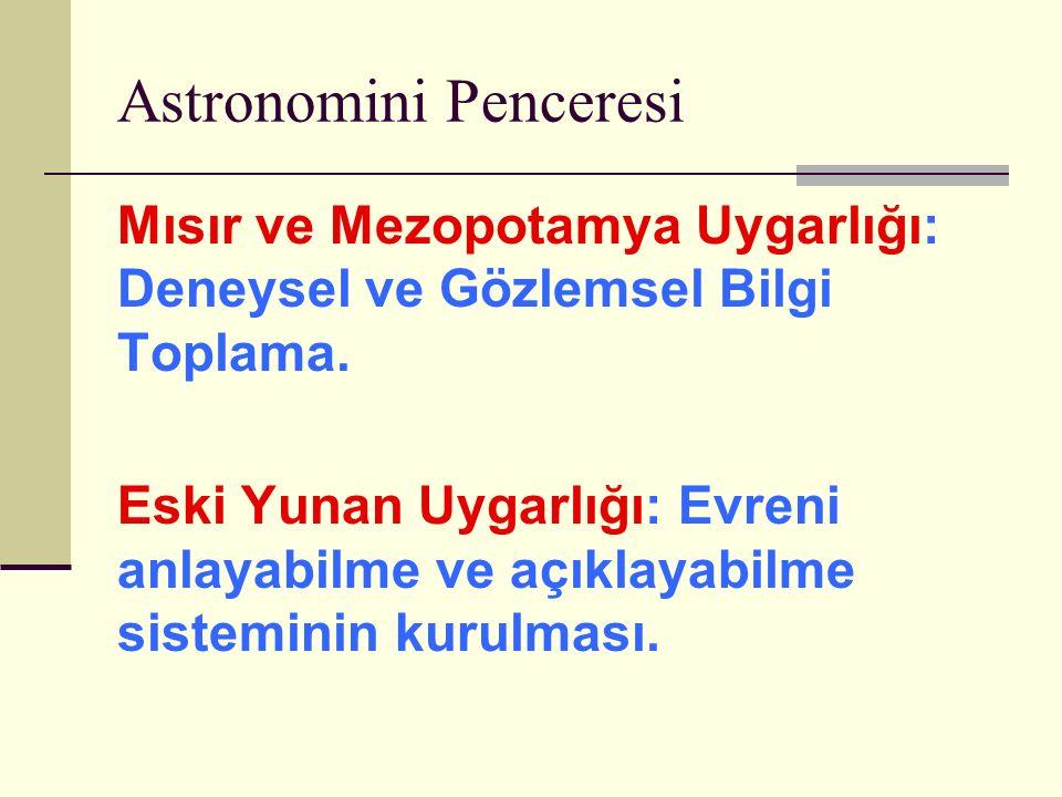 Astronomini Penceresi Mısır ve Mezopotamya Uygarlığı: Deneysel ve Gözlemsel Bilgi Toplama.