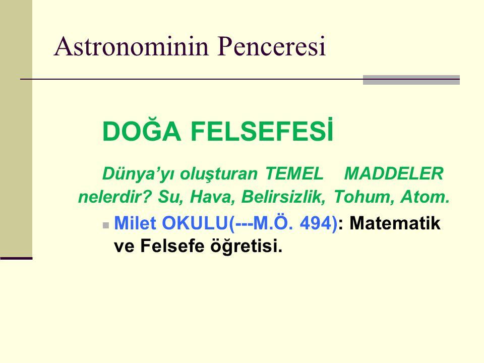 Astronominin Penceresi DOĞA FELSEFESİ Dünya'yı oluşturan TEMEL MADDELER nelerdir.