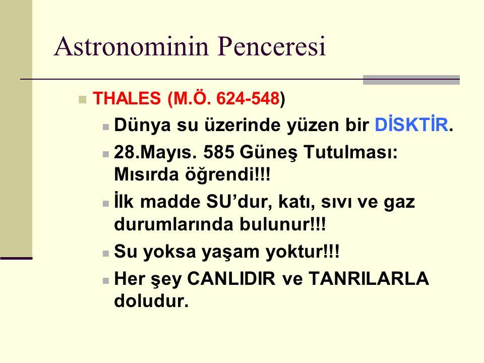 Astronominin Penceresi THALES (M.Ö.624-548) Dünya su üzerinde yüzen bir DİSKTİR.