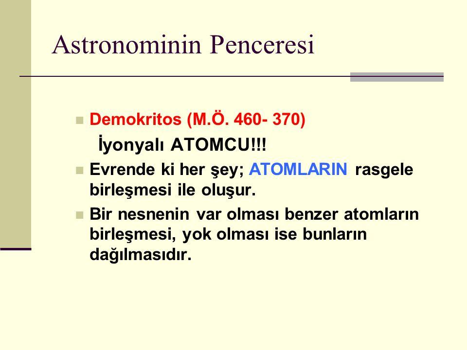 Astronominin Penceresi Demokritos (M.Ö.460- 370) İyonyalı ATOMCU!!.