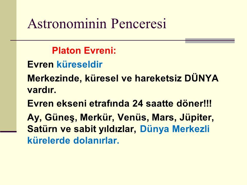 Astronominin Penceresi Platon Evreni: Evren küreseldir Merkezinde, küresel ve hareketsiz DÜNYA vardır.