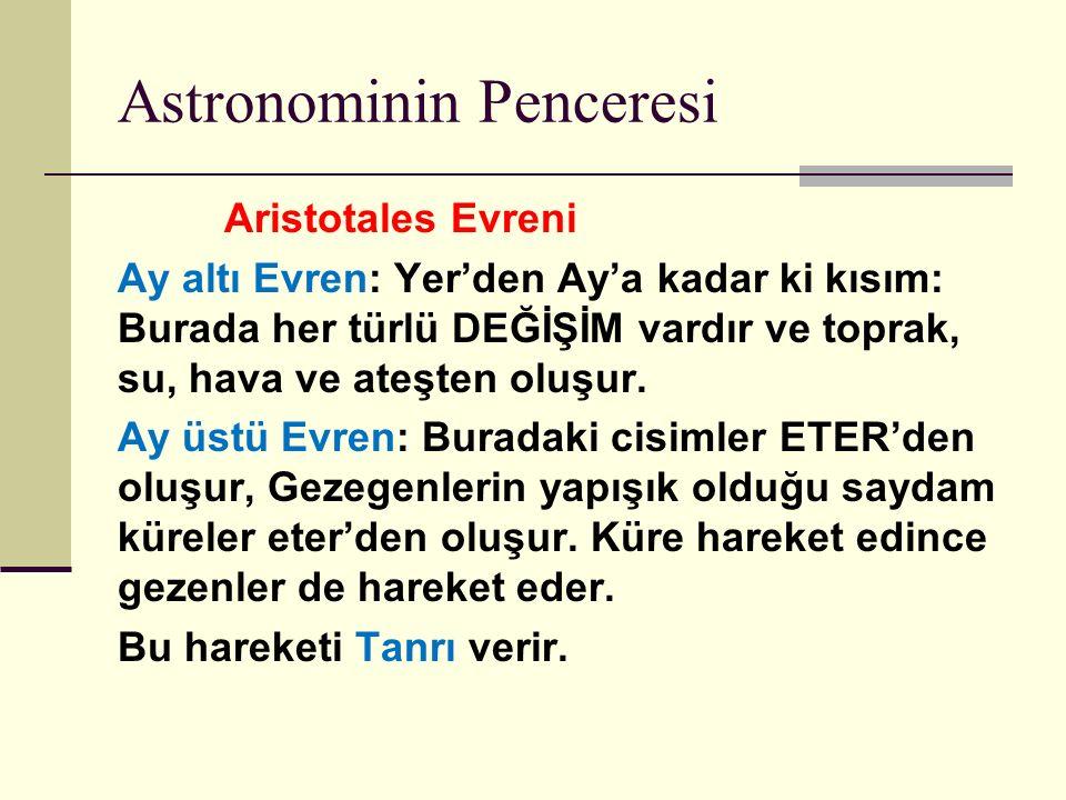 Astronominin Penceresi Aristotales Evreni Ay altı Evren: Yer'den Ay'a kadar ki kısım: Burada her türlü DEĞİŞİM vardır ve toprak, su, hava ve ateşten oluşur.