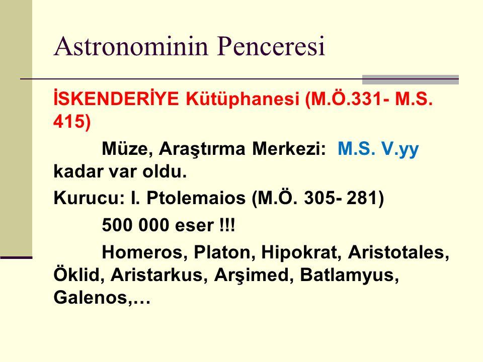 Astronominin Penceresi İSKENDERİYE Kütüphanesi (M.Ö.331- M.S.