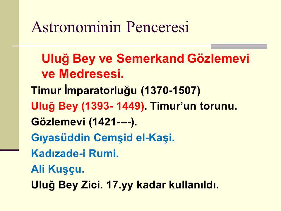 Astronominin Penceresi Uluğ Bey ve Semerkand Gözlemevi ve Medresesi.