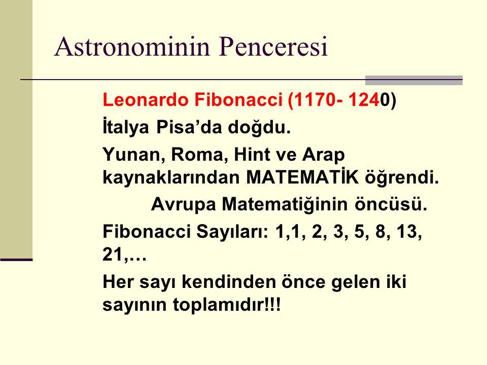 Astronominin Penceresi Leonardo Fibonacci (1170- 1240) İtalya Pisa'da doğdu.