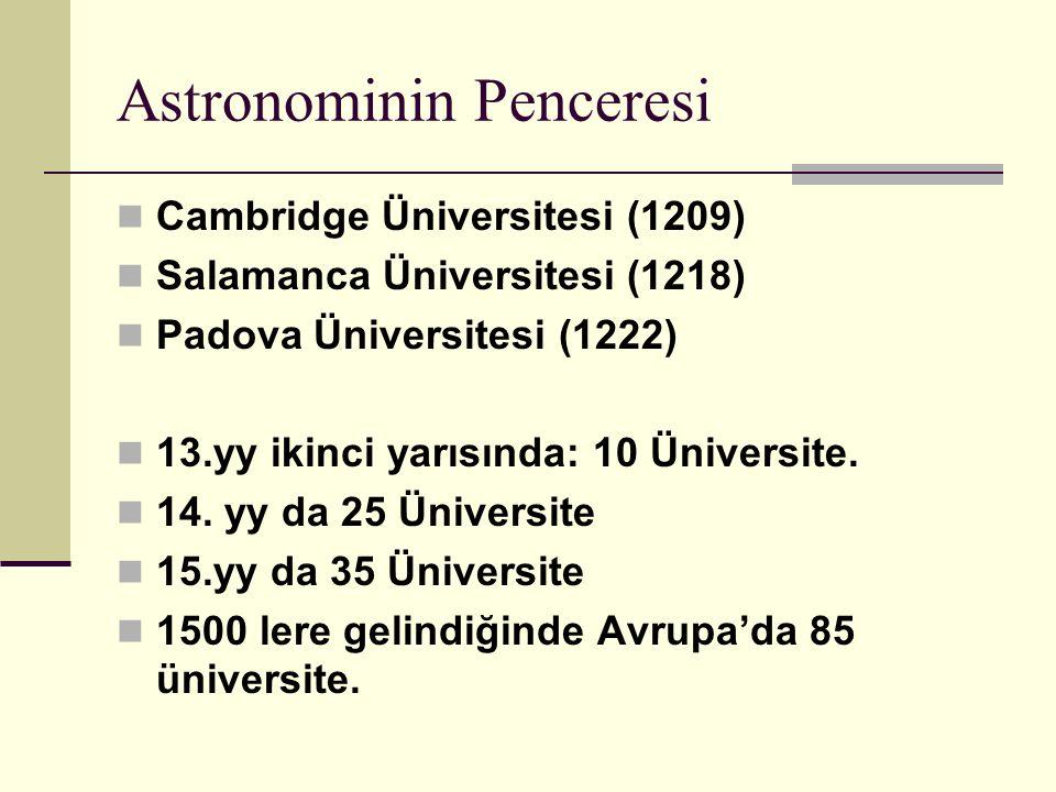 Astronominin Penceresi Cambridge Üniversitesi (1209) Salamanca Üniversitesi (1218) Padova Üniversitesi (1222) 13.yy ikinci yarısında: 10 Üniversite.
