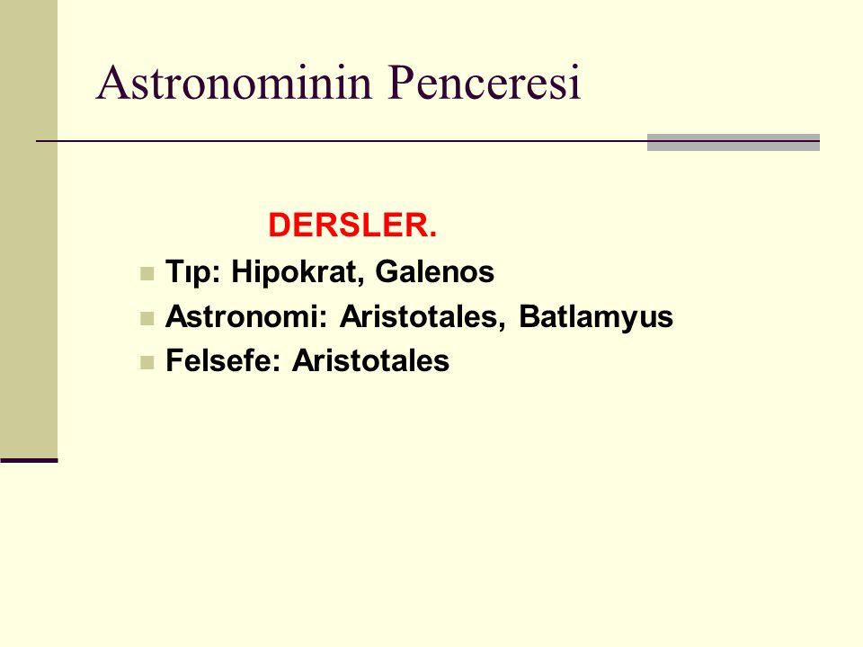 Astronominin Penceresi DERSLER.