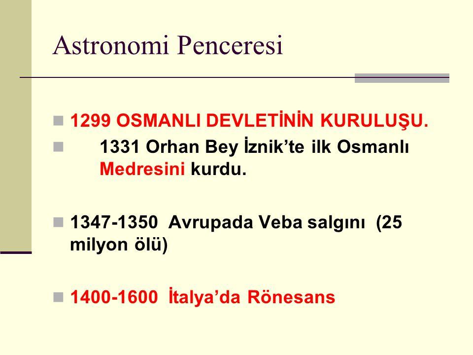 Astronomi Penceresi 1299 OSMANLI DEVLETİNİN KURULUŞU.