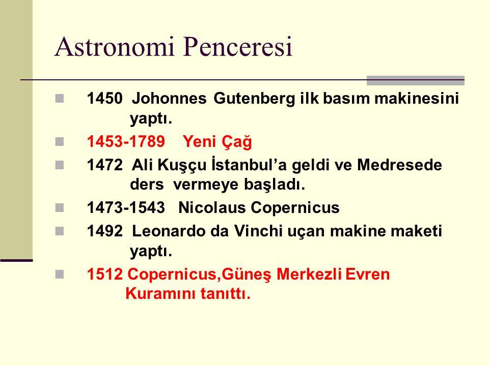Astronomi Penceresi 1450 Johonnes Gutenberg ilk basım makinesini yaptı.