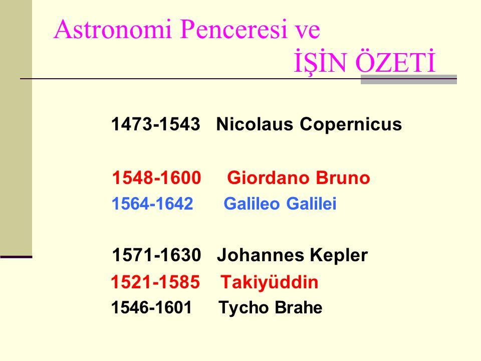 Astronomi Penceresi ve İŞİN ÖZETİ 1473-1543 Nicolaus Copernicus 1548-1600 Giordano Bruno 1564-1642 Galileo Galilei 1571-1630 Johannes Kepler 1521-1585 Takiyüddin 1546-1601 Tycho Brahe
