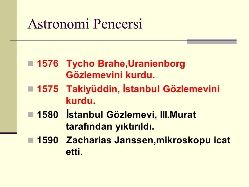 Astronomi Pencersi 1576 Tycho Brahe,Uranienborg Gözlemevini kurdu.