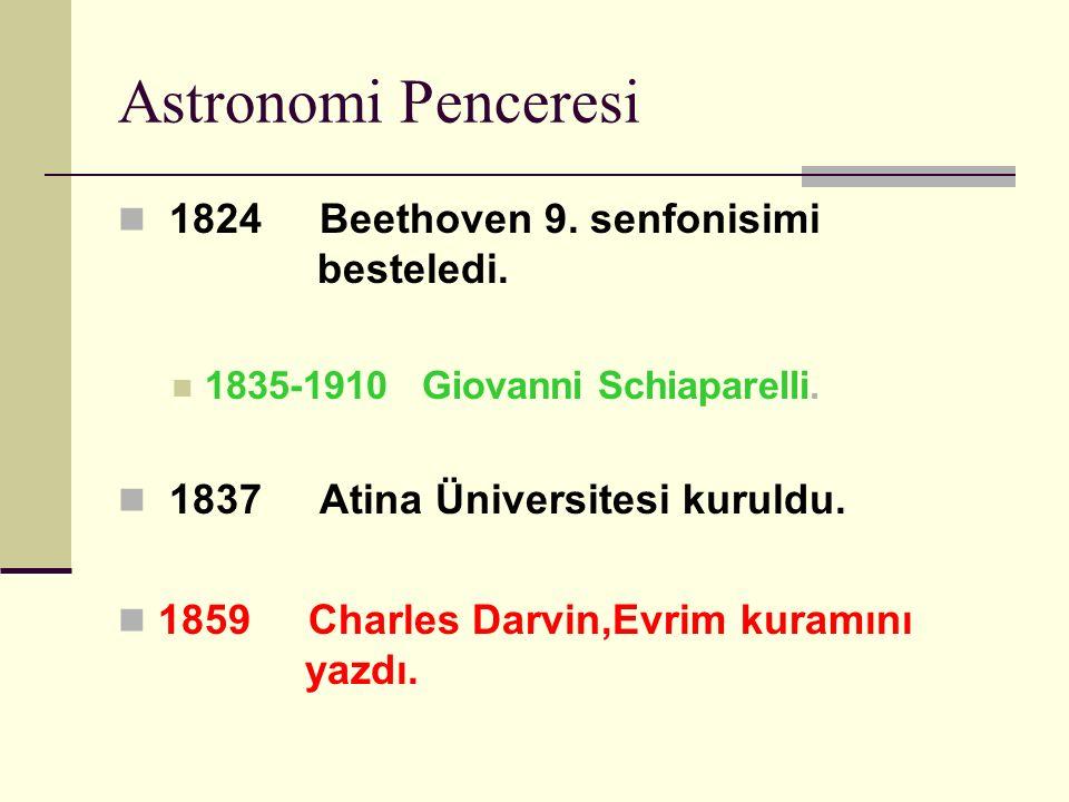Astronomi Penceresi 1824 Beethoven 9.senfonisimi besteledi.