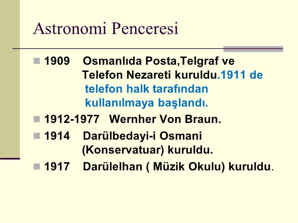 Astronomi Penceresi 1909 Osmanlıda Posta,Telgraf ve Telefon Nezareti kuruldu.1911 de telefon halk tarafından kullanılmaya başlandı.