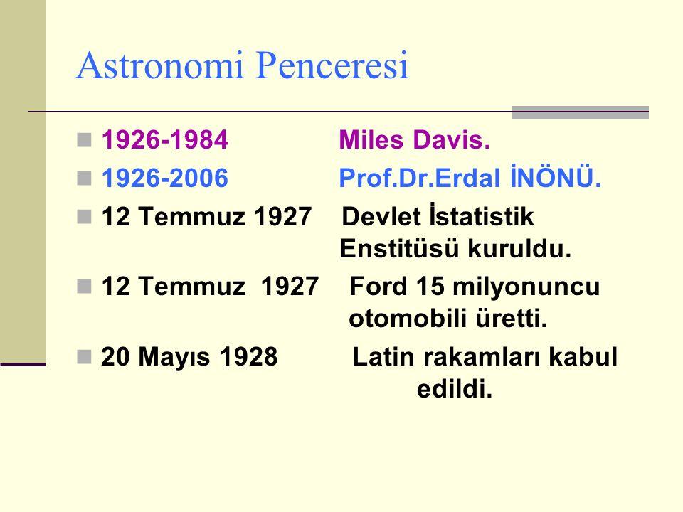 Astronomi Penceresi 1926-1984 Miles Davis.1926-2006 Prof.Dr.Erdal İNÖNÜ.