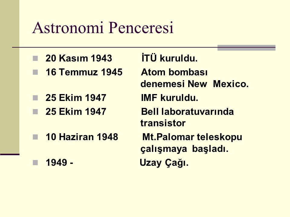 Astronomi Penceresi 20 Kasım 1943 İTÜ kuruldu.16 Temmuz 1945 Atom bombası denemesi New Mexico.
