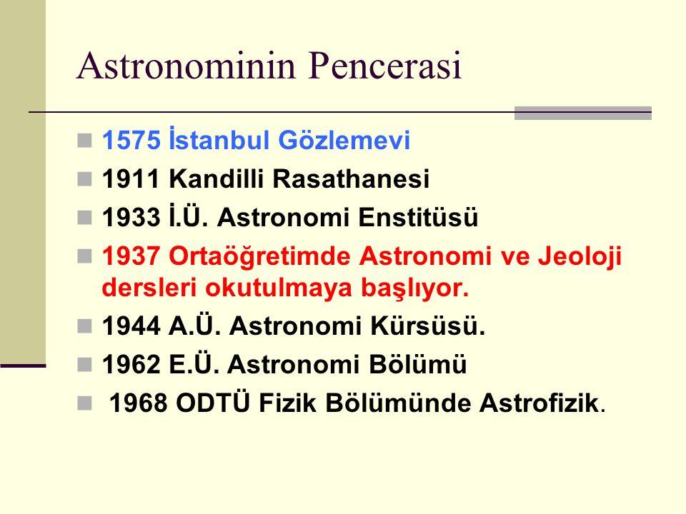 Astronominin Pencerasi 1575 İstanbul Gözlemevi 1911 Kandilli Rasathanesi 1933 İ.Ü.